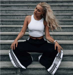 Side stripe trousers and cropped top